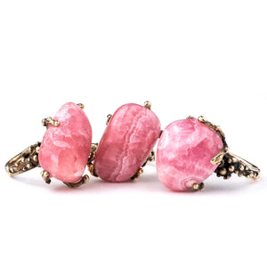 Rhodochrosite Ring - One Of a Kind - Giardinoblu crystal healing jewelry