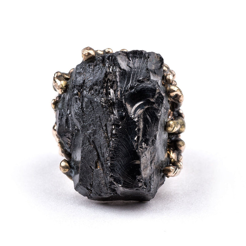 Silver Shungite Statement Ring - One of a Kind - Giardinoblu Jewellery Milan