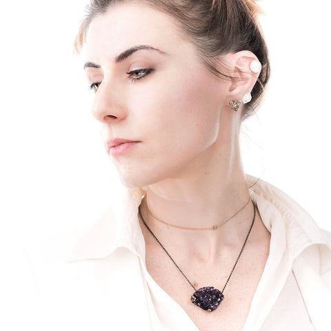 Raw Amethyst Drusy Necklace - sterling silver chain, one of a kind