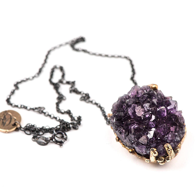 Amethyst Druzy Necklace - sterling silver chain, one of a kind - Giardinoblu Jewellery Milan