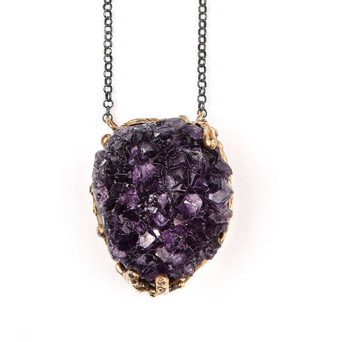 Amethyst Druse Necklace - sterling silver chain, one of a kind