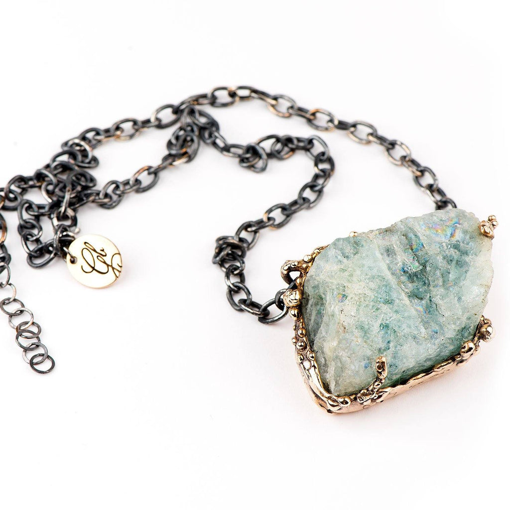 Raw Aquamarine Statement Necklace - one of a kind for man and women - Giardinoblu Jewellery Milan