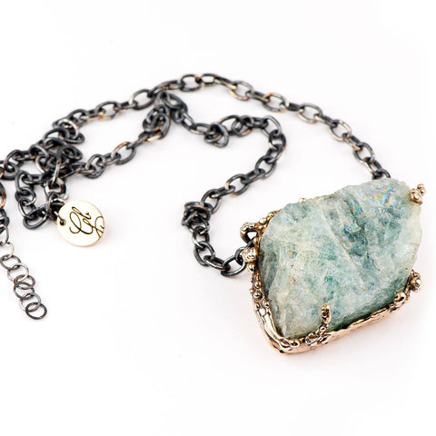 Raw Aquamarine Statement Necklace - Unique Piece for man and women