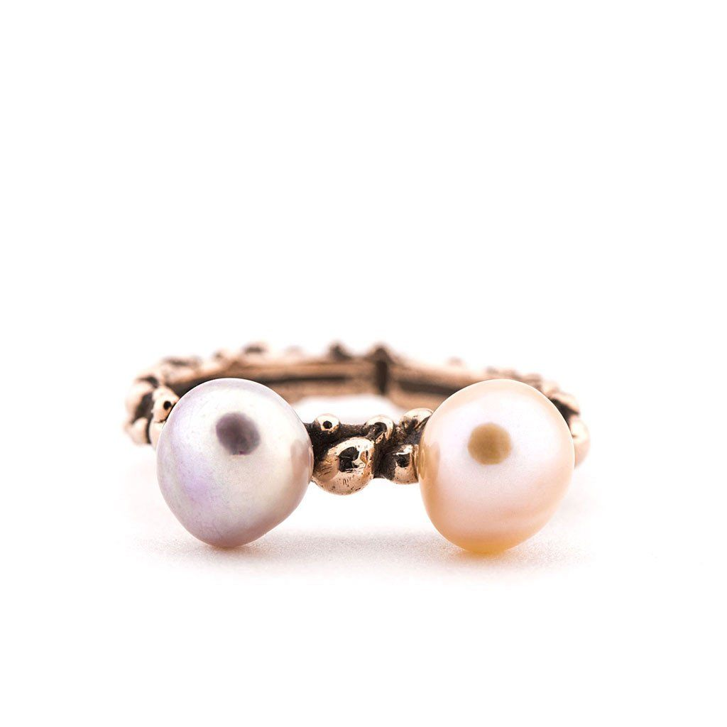 Band Ring with Freshwater Pearls