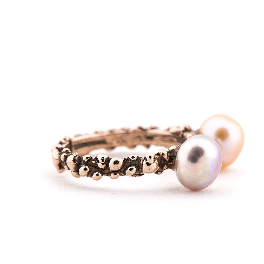 Stackable Band Ring with Freshwater Pearls - one of a kind - Giardinoblu Jewellery Milan