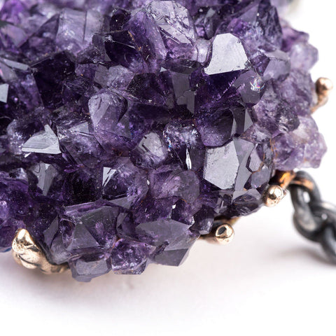 Drusy Necklace with Top Quality Amethyst - Adjustable One of a Kind Statement