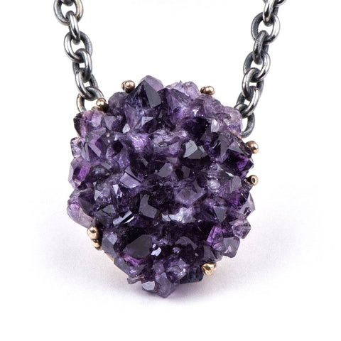 Necklace - Drusy Necklace With Top Quality Amethyst - Adjustable One Of A Kind Statement