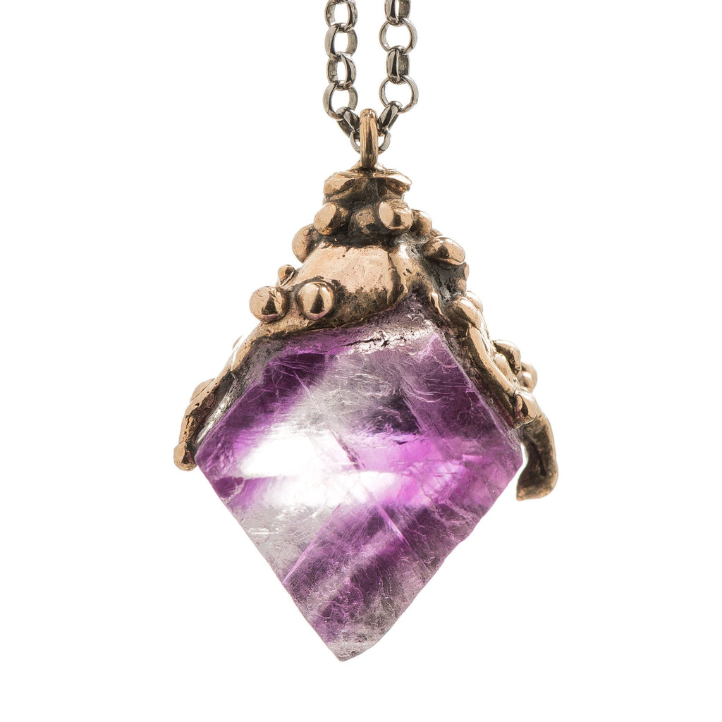 Purple Fluorite Crystal Necklace - healing jewelry - Giardinoblu Jewellery Milan