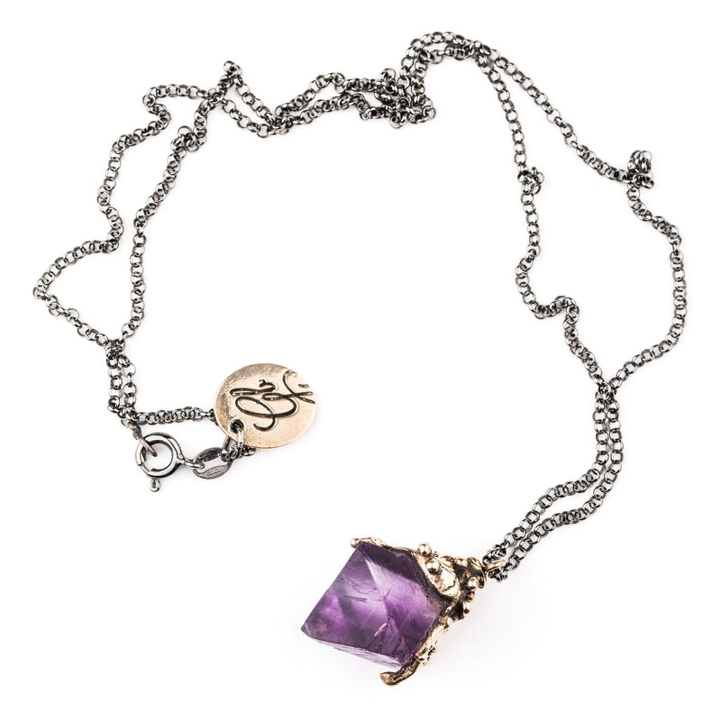 Purple Fluorite Crystal Necklace - One of a Kind - Giardinoblu Jewellery Milan