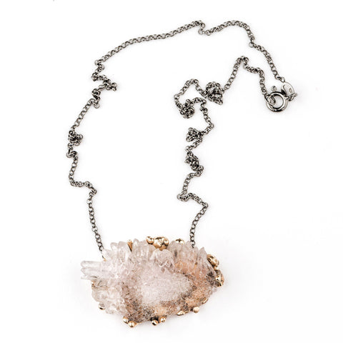 Necklace - Elestial Rose Quartz Crystal Necklace - Unique Piece