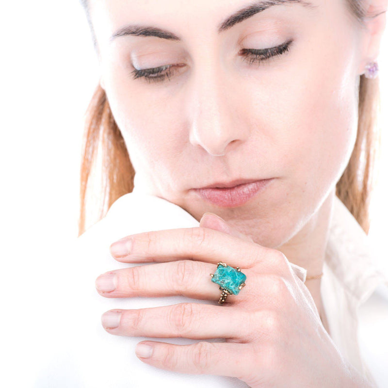 Chrysocolla Gemstone Ring - One of a kind - Giardinoblu Jewellery Milan