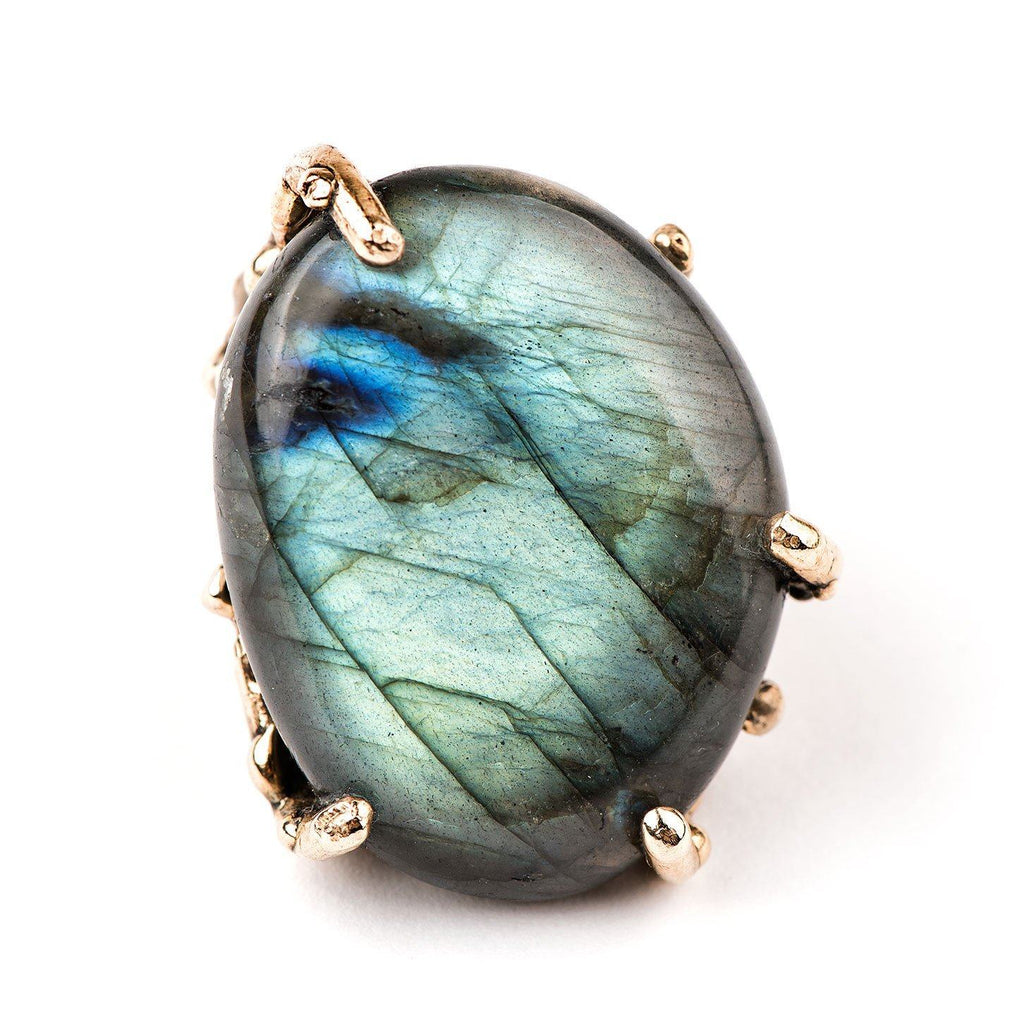 Spectrolite Labradorite Ring - One of a kind Statement - Giardinoblu Jewellery Milan