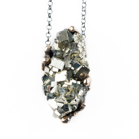 Necklace - Raw Pyrite Stone Necklace With Silver Chain - One Of A Kind For Men And Women