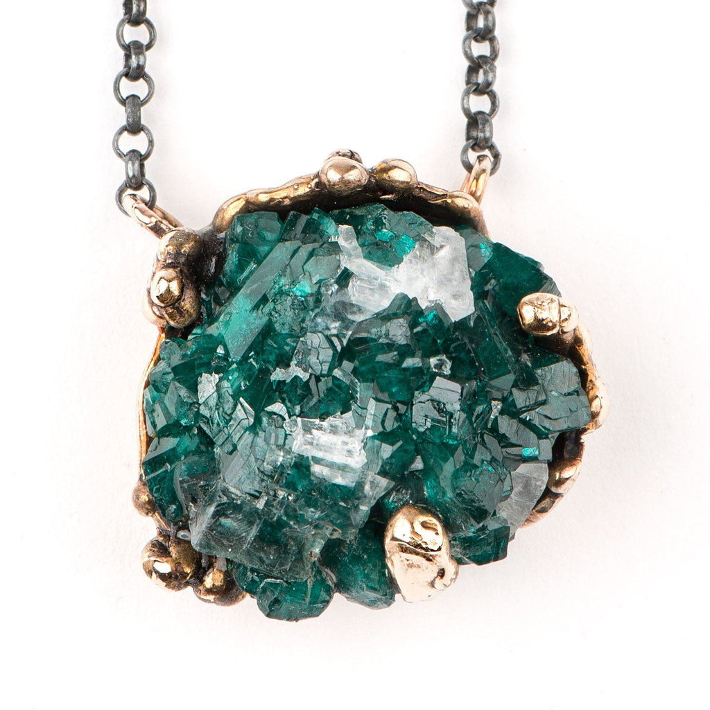 Druzy Rough Dioptase Crystal Necklace with silver chain - One of a Kind for men and women - Giardinoblu Jewellery Milan