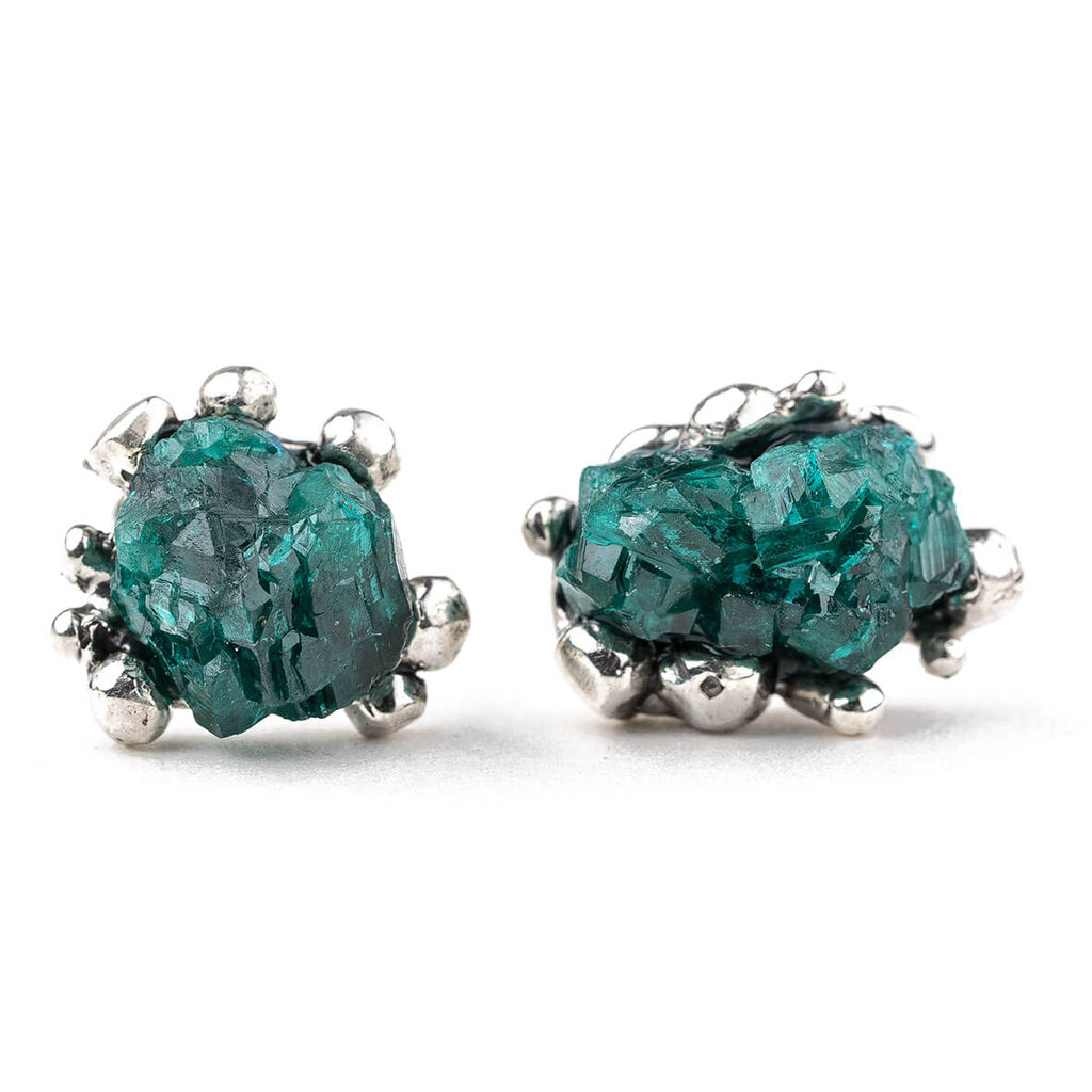 Dioptase Sterling Silver Earrings | Giardinoblu Healing Jewelry