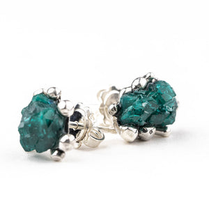 Dioptase Sterling Silver Earrings - Unique Piece