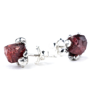 Red Spinel Sterling Silver Earrings - Unique Piece