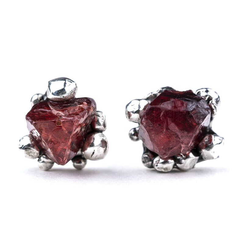 Red Spinel Sterling Silver Earrings