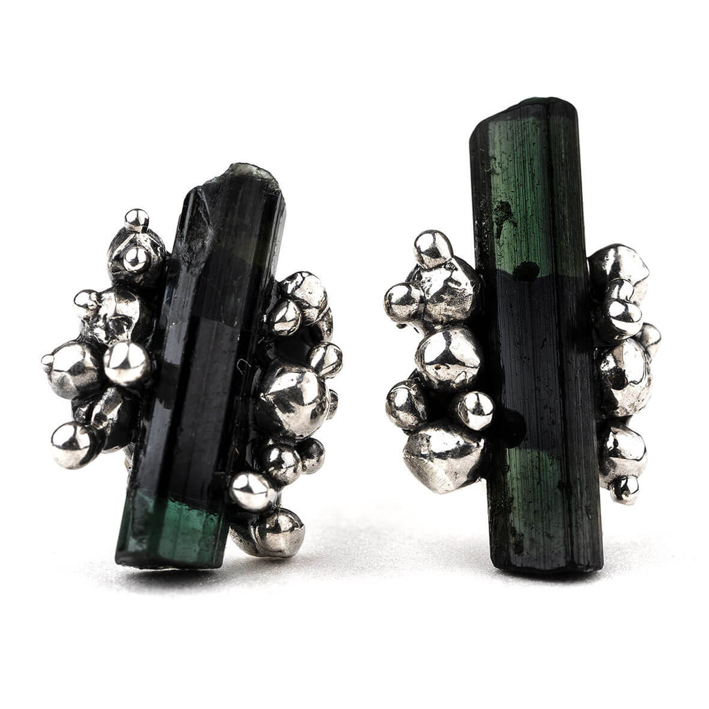 Green Tourmaline Sterling Silver Earrings - Unique Piece