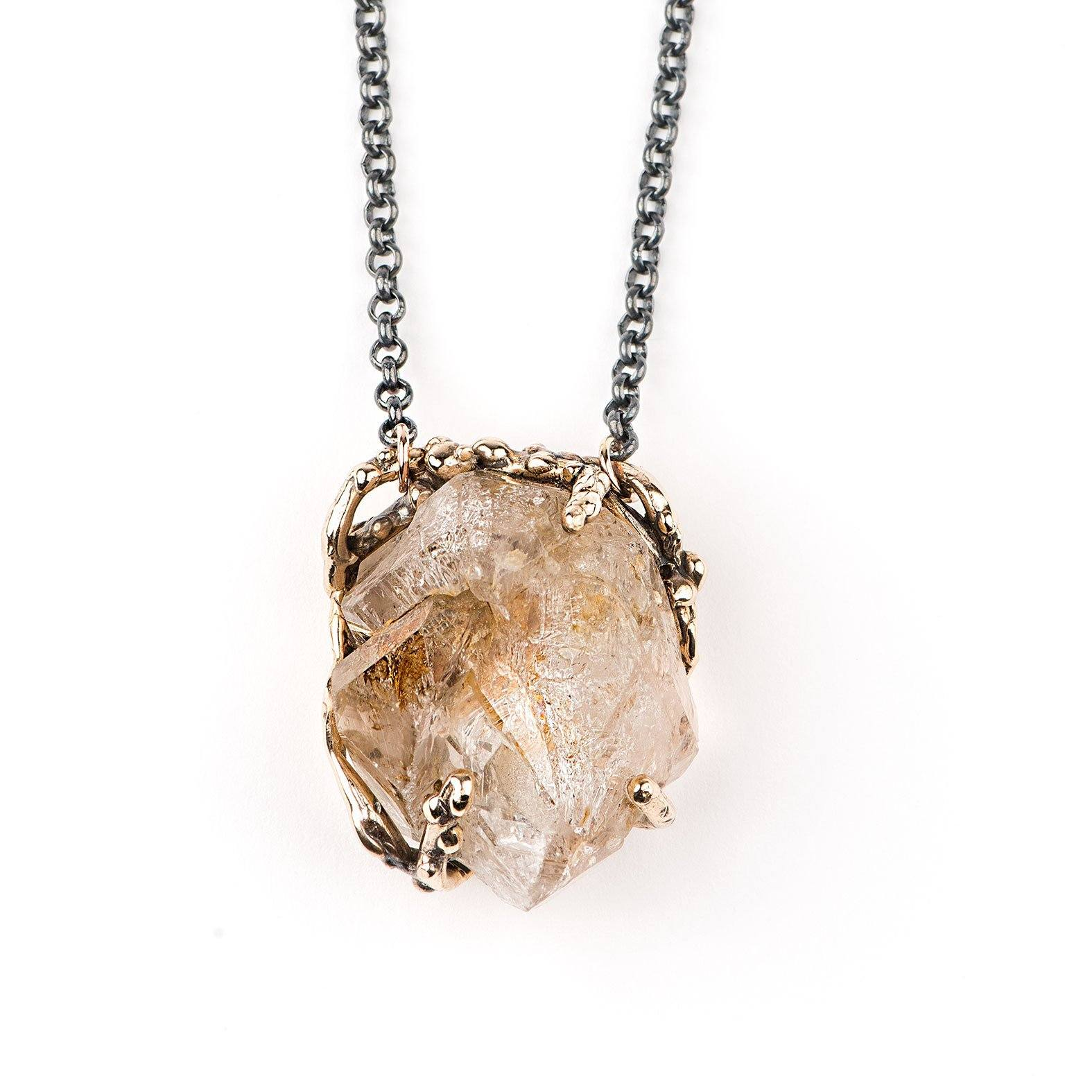 Elestial Quartz Pendant with Chain - Unique Piece for men and women