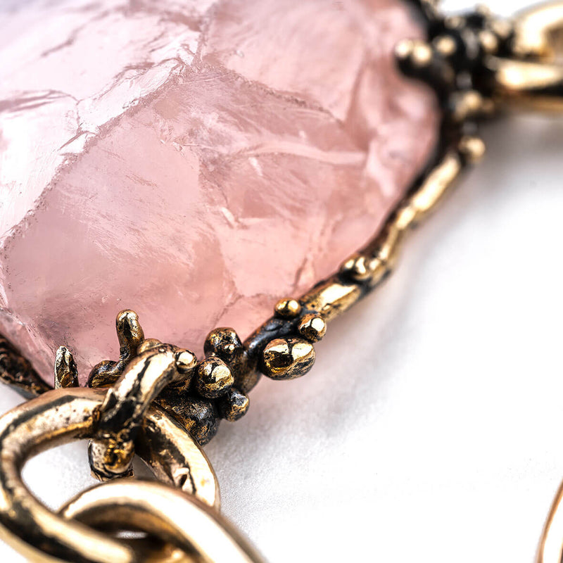 Statement Rose Quartz Necklace - Unique Piece