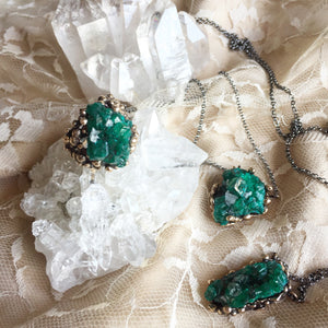 Dioptase Necklace with silver chain - One of a Kind - Giardinoblu Jewellery Milan