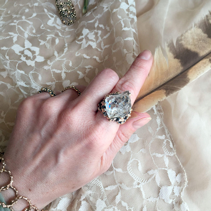 Herkimer Diamond Statement Ring - Unique Piece - Giardinoblu Jewellery Milan