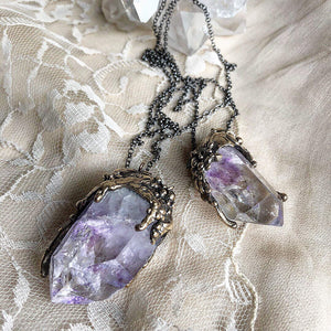 Amethyst Quartz Crystal Necklace, One of a Kind - Giardinoblu Jewellery Milan