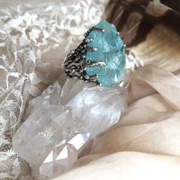Raw Aquamarine Ring - Giardinoblu Jewelry Milan