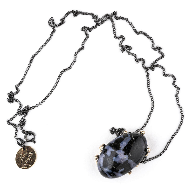 Mystic Merlinite (Indigo Gabbro) Necklace - Giardinoblu healing Jewelry