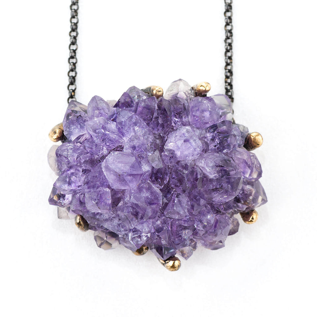 Amethyst Druzy Necklace - Unique Piece - Giardinoblu Jewellery Milan