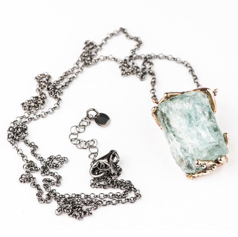 Rough Aquamarine Necklace - One of a Kind - Giardinoblu Jewellery Milan