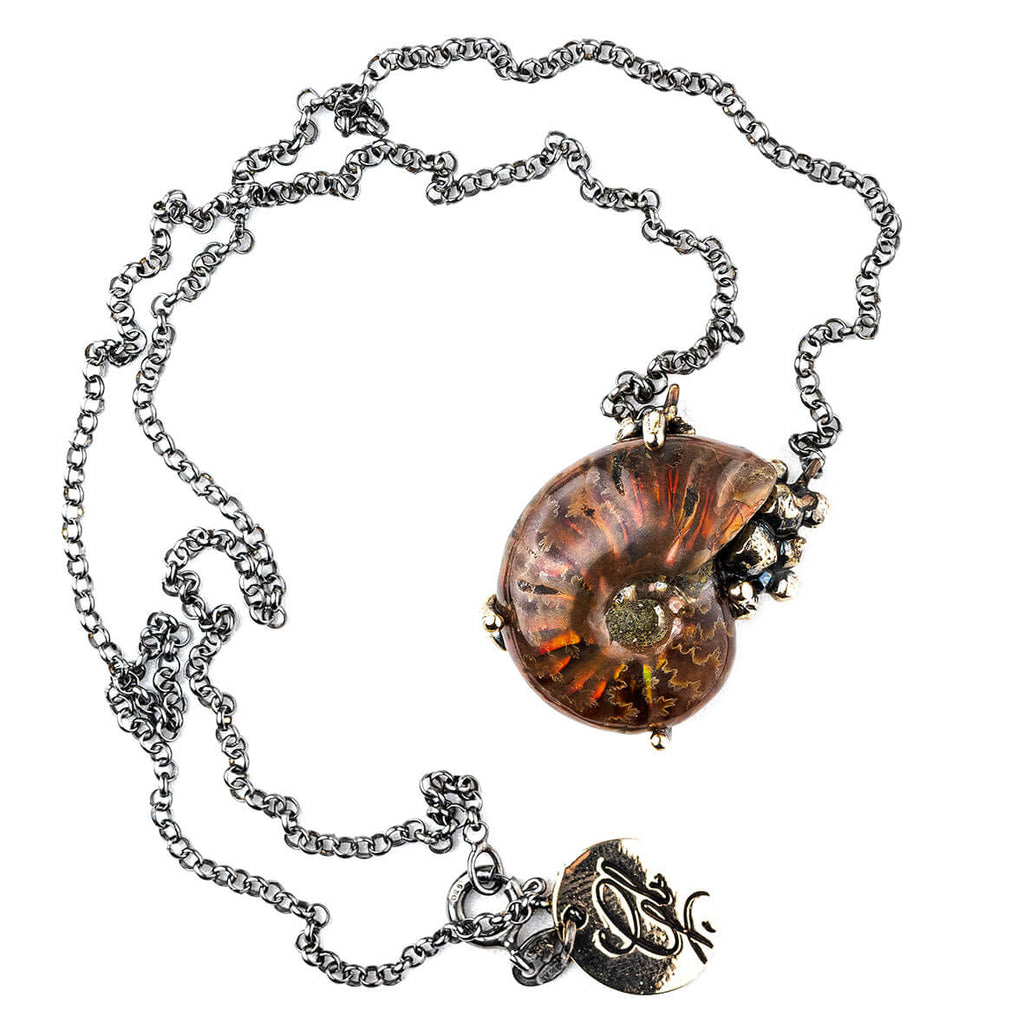 Opalized Ammonite Necklace - One of a Kind
