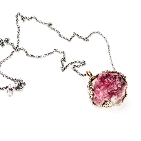 Rough Pink Tourmaline Necklace - One of a Kind