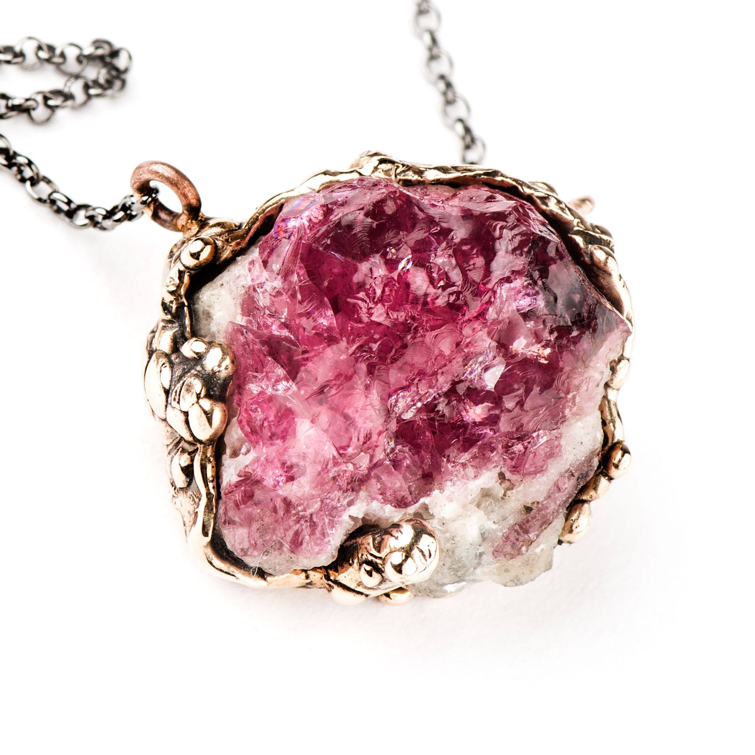 pink sterling pendant raw necklace silver crystal pin tourmaline rough