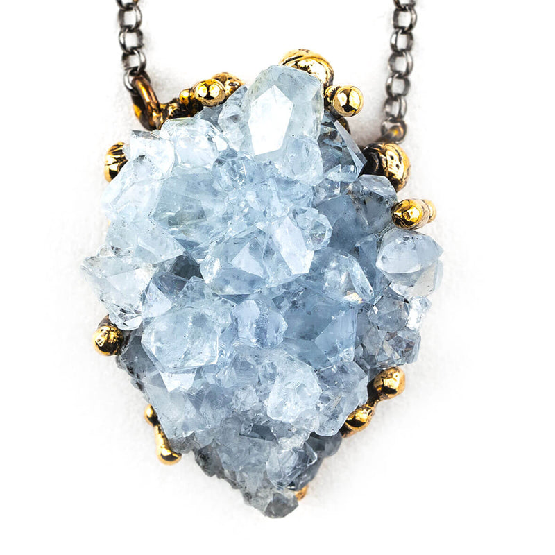 Celestine Druze Necklace - Unique Piece