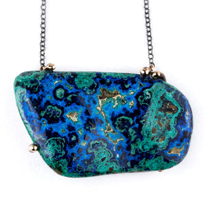 Azurite Malachite Chrysocolla Statement Necklace - Unique Piece - Giardinoblu Jewellery Milan