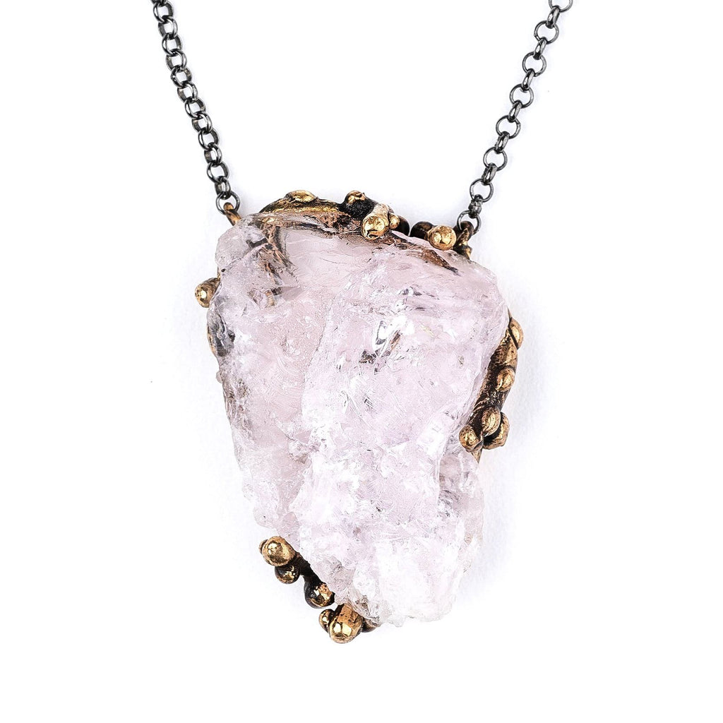 Morganite Necklace - Crystal healing jewelry by giardinoblu