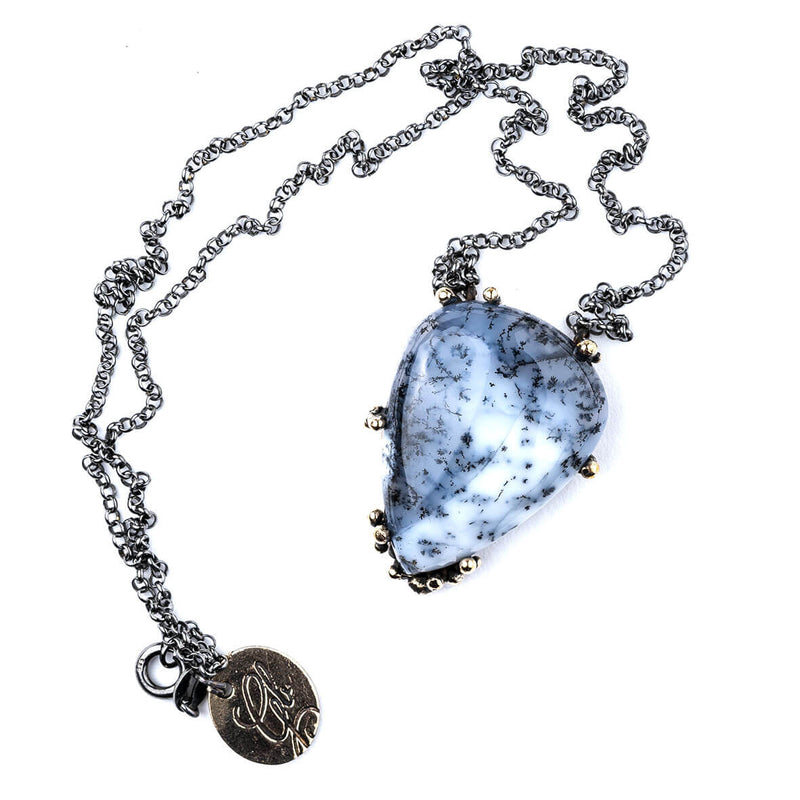 White Dendritic Opal Necklace - One of a Kind