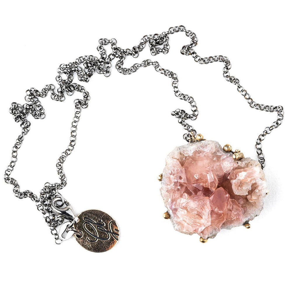 Pink Amethyst Druzy Necklace - Unique Piece