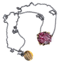 Cherry Tourmaline necklace ( Rubellite ) Crystal healing jewelry