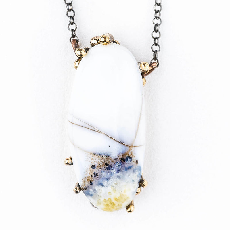 White Dendritic Opal (Merlinite) Necklace - One of a Kind