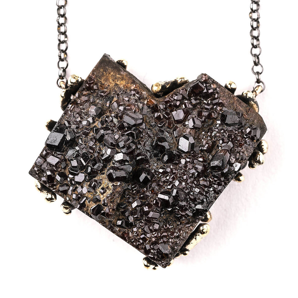 Almandine Garnet Druzy Necklace - Unique Piece