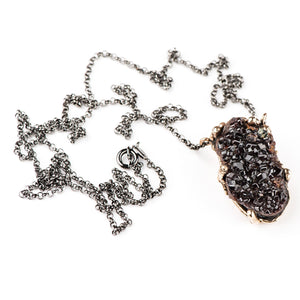 Garnet Druzy Necklace - One of a kind Pendant - Giardinoblu Jewellery Milan