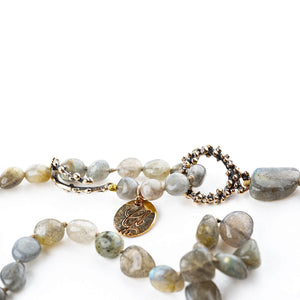 Labradorite Beaded Necklace - Fully Adjustable Length - Giardinoblu Jewellery Milan