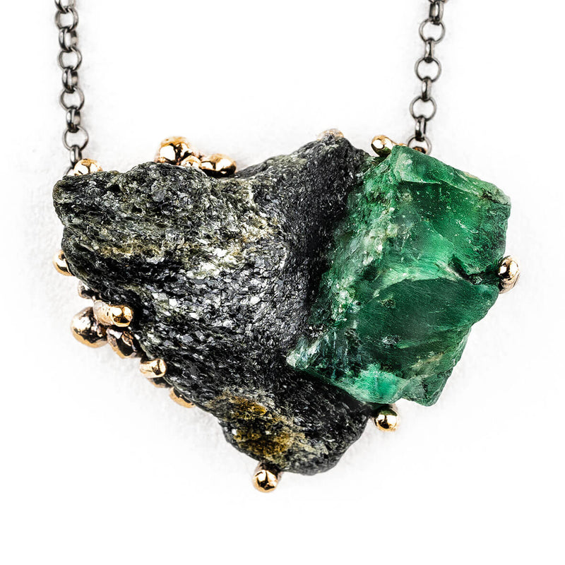 Emerald Necklace (Emerald on Martix) - Unique piece