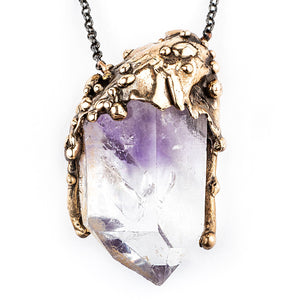 Amethyst Quartz Crystal Necklace, Unique Piece - Giardinoblu Jewellery Milan