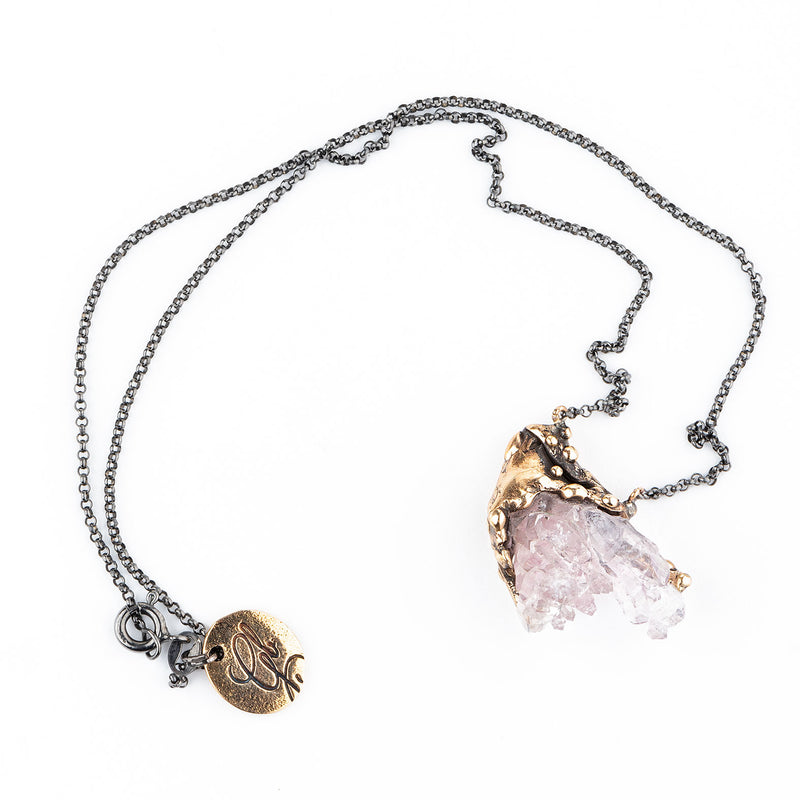 Elestial Rose Quartz Crystal Necklace - Unique Piece - Giardinoblu Jewellery Milan