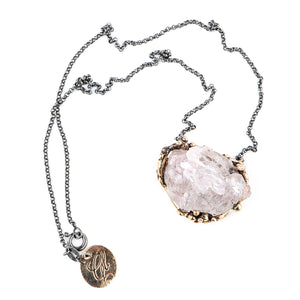 Elestial Rose Quartz Crystal Necklace - One of a Kind - Giardinoblu Jewellery Milan