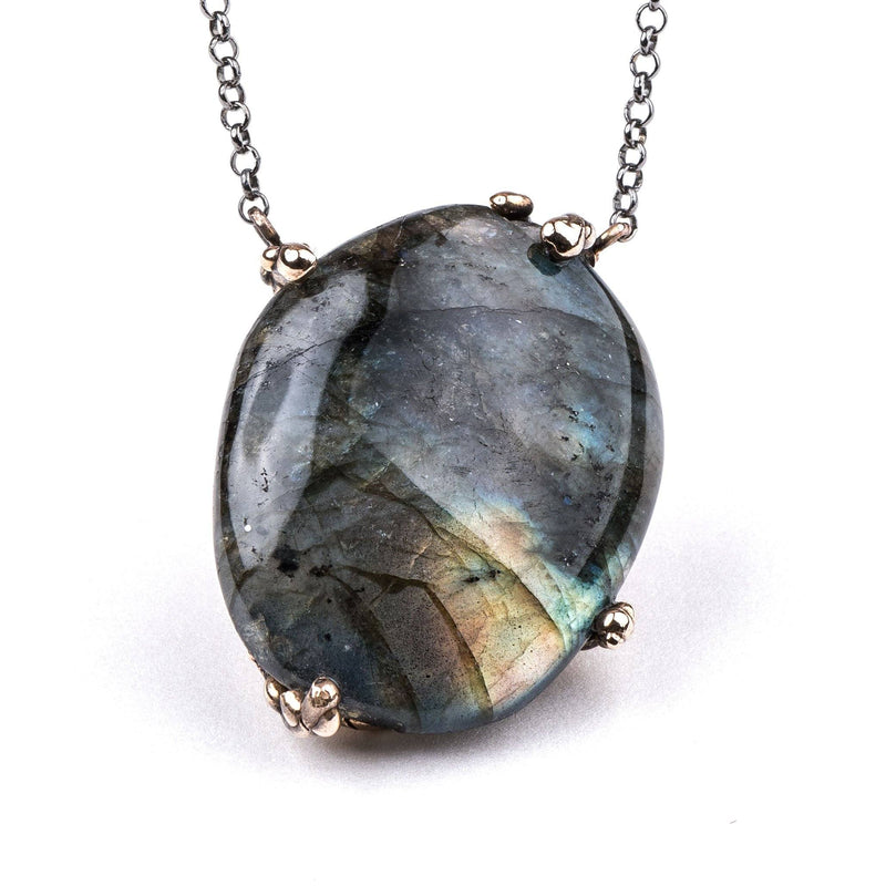 Labradorite Necklace - One of a Kind Pendant - Giardinoblu Jewellery Milan